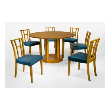 ELIEL SAARINEN | DINING TABLE AND SIX DINING CHAIRS