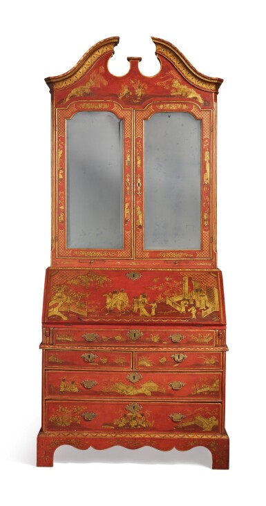 A GEORGE II RED JAPANNED AND PARCEL-GILT BUREAU BOOKCASE, CIRCA 1735