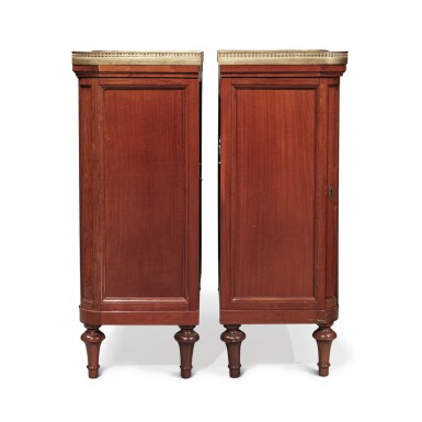View 3. Thumbnail of Lot 127. A Pair of Louis XVI Mahogany Side Cabinets by Jean-François Leleu, Second Half 18th Century.