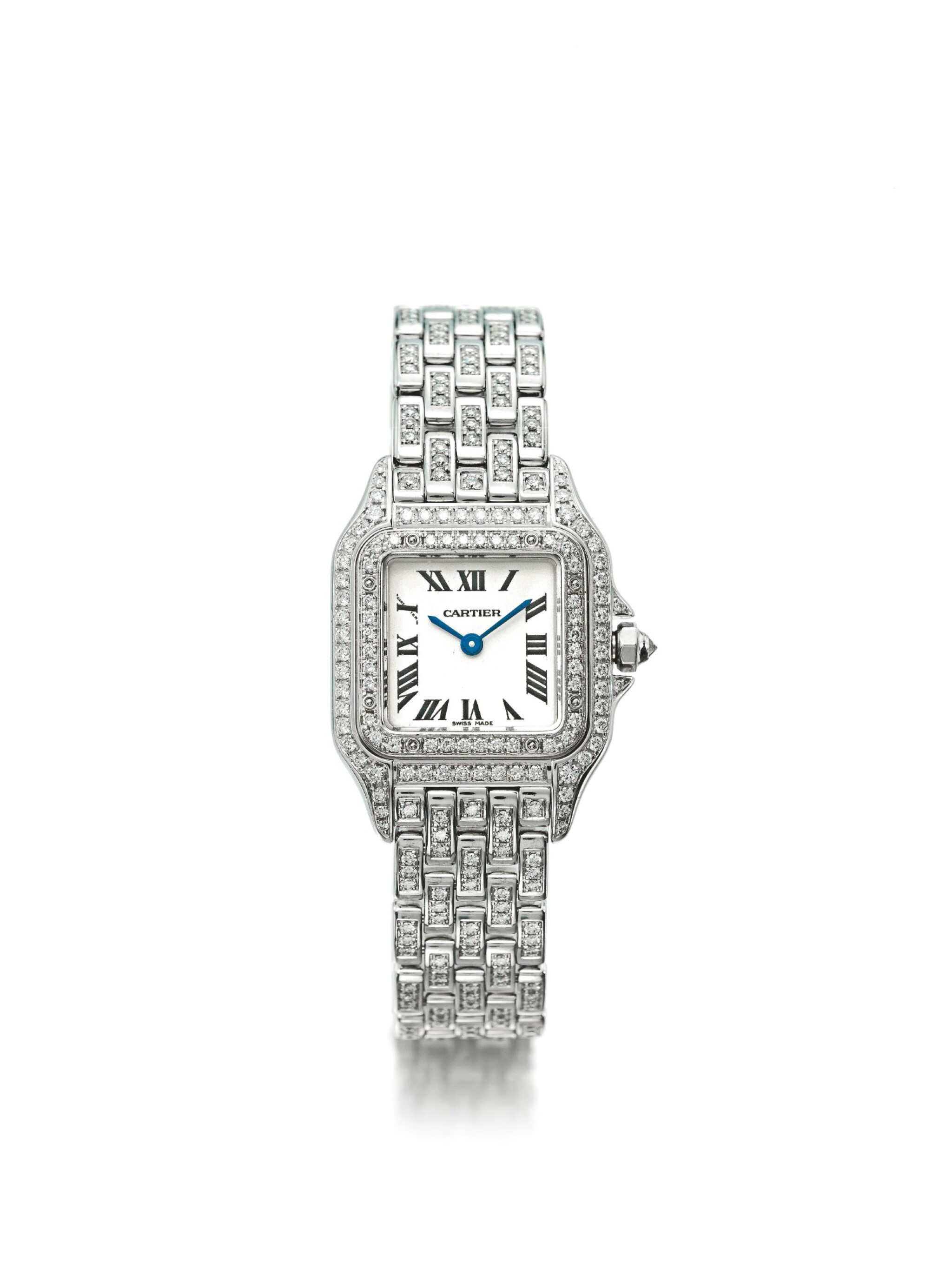View full screen - View 1 of Lot 35. CARTIER | REF 1660 PANTHÉRE, A LADY'S WHITE GOLD AND DIAMOND SET WRISTWATCH WITH BRACELET CIRCA 2010.