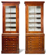 A NEAR PAIR OF WILLIAM IV MAHOGANY MUSEUM CABINETS, CIRCA 1835