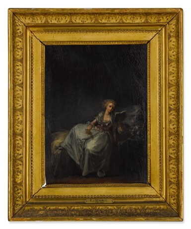 View 3. Thumbnail of Lot 92. Woman reclining in an interior, reading a book.