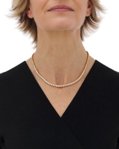 View 4. Thumbnail of Lot 98. Diamond necklace (Collana in diamanti).