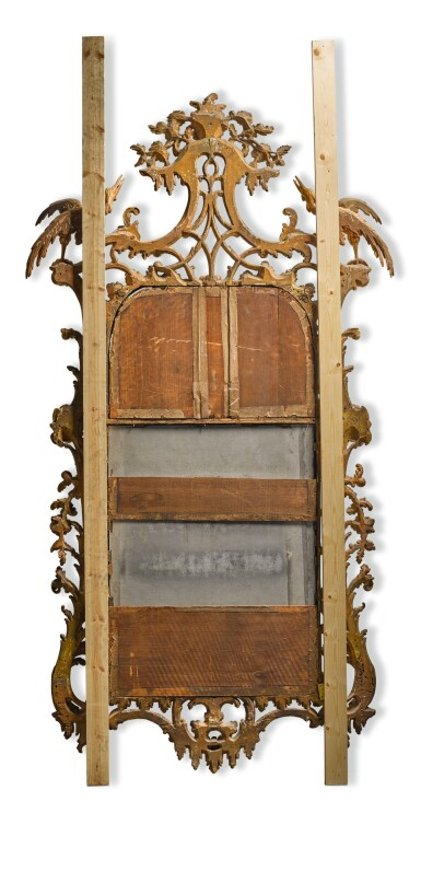 View 2. Thumbnail of Lot 6. A GEORGE III CARVED GILTWOOD MIRROR, CIRCA 1760.