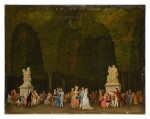 Elegant figures in a park, some strolling in the foreground while others sit in groups and converse