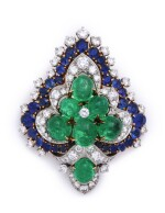 BULGARI | EMERALD, SAPPHIRE AND DIAMOND CLIP-BROOCH