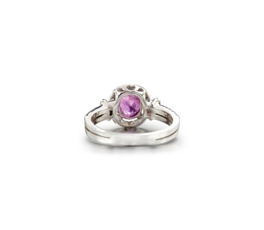 View 3. Thumbnail of Lot 45. PINK SAPPHIRE AND DIAMOND RING.