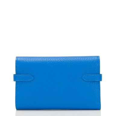 View 3. Thumbnail of Lot 13. Hermès Bleu Hydra Kelly Depliant Medium Wallet of Chevre Leather with Palladium Hardware.