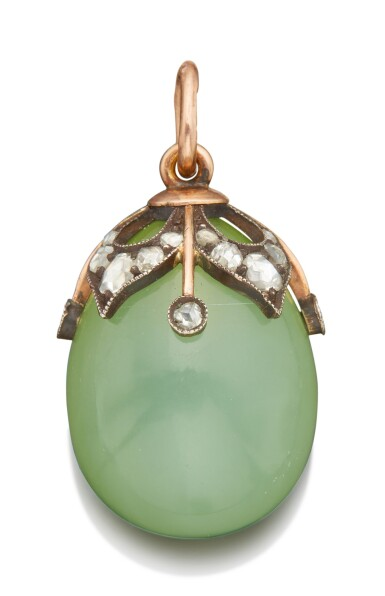 View 2. Thumbnail of Lot 46. A LARGE FABERGÉ JEWELED AND GOLD-MOUNTED BOWENITE EGG PENDANT, WORKMASTER MICHAEL PERCHIN, ST PETERSBURG, CIRCA 1890.
