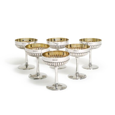 View 2. Thumbnail of Lot 40. A SET OF SIX EDWARDIAN SILVER CHAMPAGNE COUPES, WALKER & HALL, SHEFFIELD, 1907.