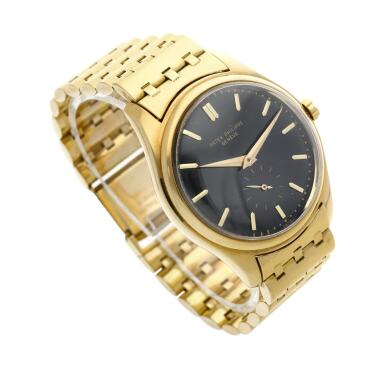 View 3. Thumbnail of Lot 227. Reference 2526  A yellow gold wristwatch with a first series black enamel dial and bracelet, Made in 1954 .
