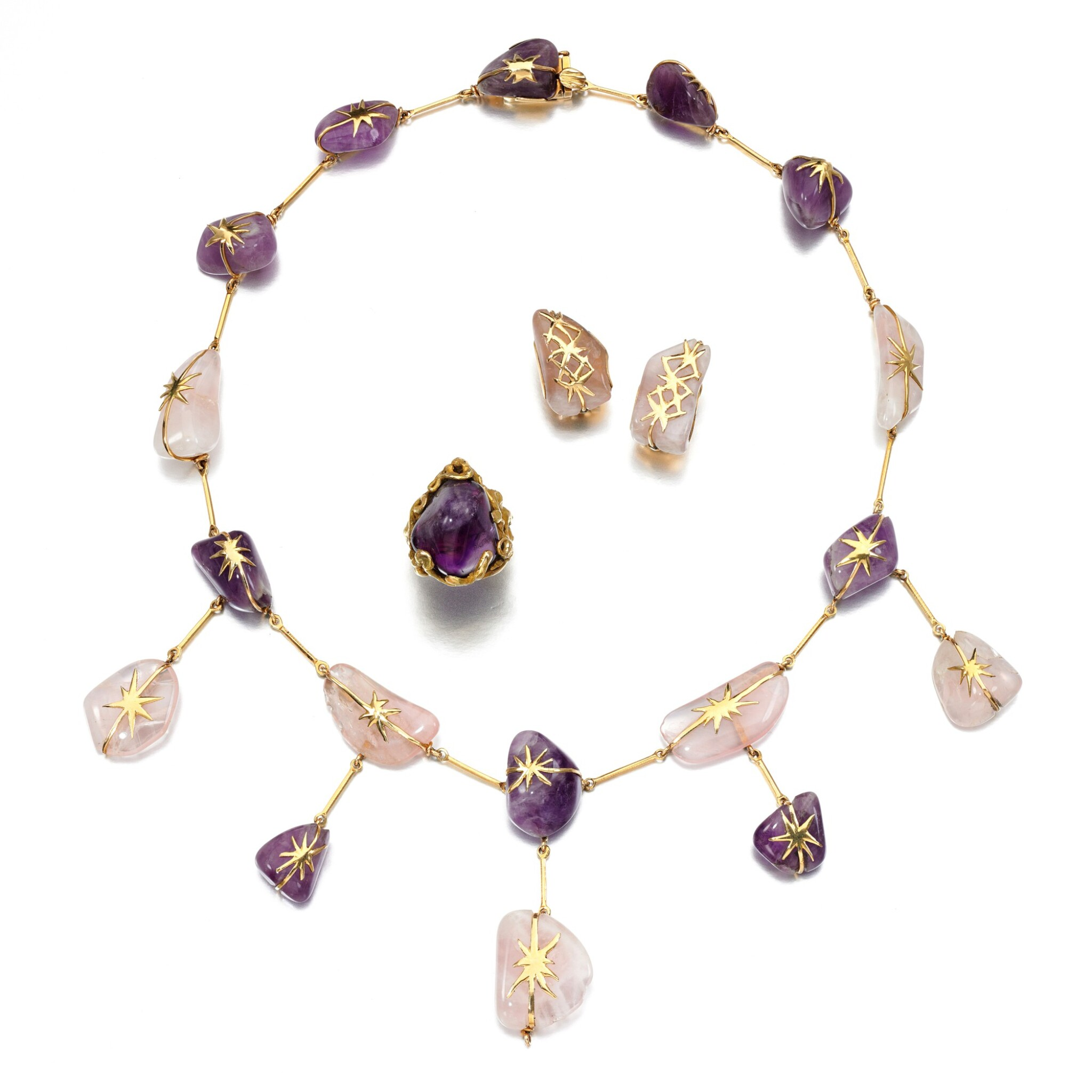 View full screen - View 1 of Lot 167. Amethyst and rose quartz demi-parure and an amethyst ring.