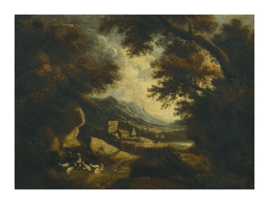 View 1. Thumbnail of Lot 82. Sold Without Reserve   FOLLOWER OF JOHANNES GLAUBER   WOODED LANDSCAPE WITH FIGURES AND GOATS RESTING IN THE FOREGROUND, BUILDINGS AND A MOUNTAIN BEYOND.