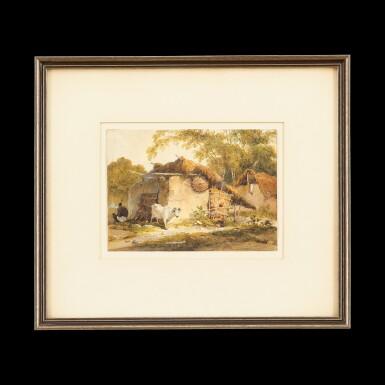 View 1. Thumbnail of Lot 208. George Chinnery (1774-1852) Indian Village Scene | 錢納利(1774-1852年)   印度鄉村 紙本水彩 鏡框.