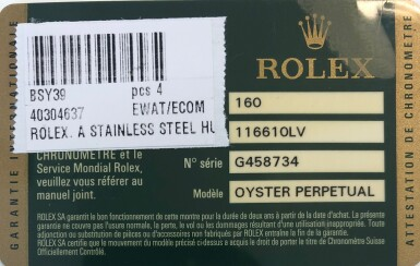 View 6. Thumbnail of Lot 406. 'Hulk' Submariner, Ref. 116610LV Stainless steel wristwatch with date and bracelet Circa 2010 | 勞力士 116610LV型號「'Hulk' Submariner」精鋼鍊帶腕錶備日期顯示,年份約2010.