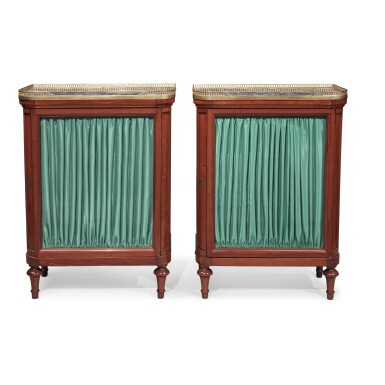 View 1. Thumbnail of Lot 127. A Pair of Louis XVI Mahogany Side Cabinets by Jean-François Leleu, Second Half 18th Century.