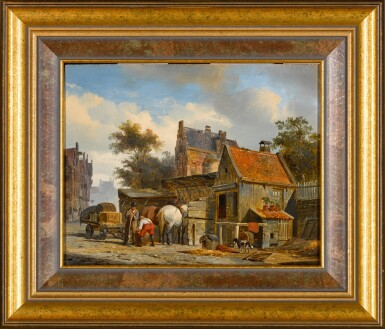View 2. Thumbnail of Lot 90. A Street Scene with a Blacksmith at Work.