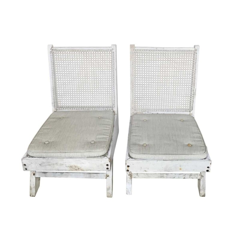 Mid-Century Modern Caned Folding Chairs