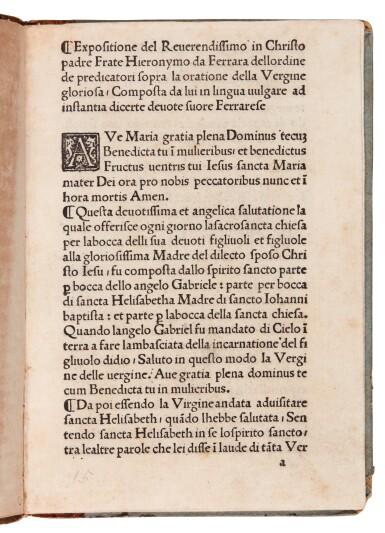 Savonarola, Expositione sopra la oratione della Vergine, [Florence, 1495], later boards
