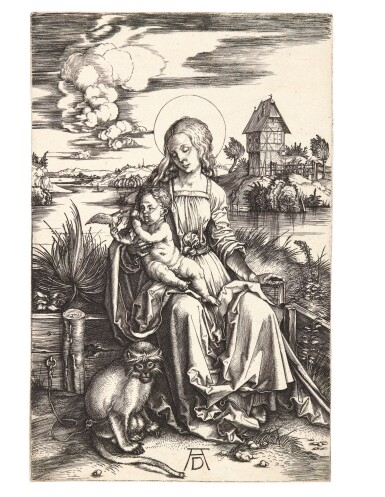 View 1. Thumbnail of Lot 17. ALBRECHT DÜRER | THE VIRGIN AND CHILD WITH THE MONKEY (B. 42; M, HOLL. 30).
