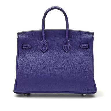 View 4. Thumbnail of Lot 341. Bleu Encre Touch Birkin 25cm in Togo Leather and Shiny Niloticus Crocodile with Palladium Hardware, 2018.