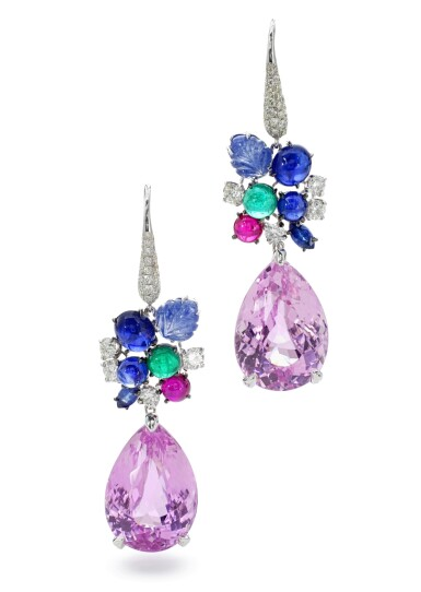 View 1. Thumbnail of Lot 24. MICHELE DELLA VALLE   PAIR OF GEM SET AND DIAMOND PENDENT EARRINGS.