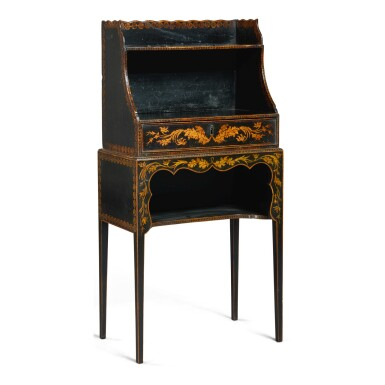 View 1. Thumbnail of Lot 130. A REGENCY BLACK AND GOLD JAPANNED SMALL ETAGERE, FIRST HALF 19TH CENTURY.