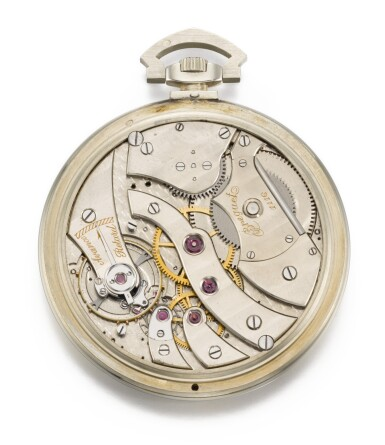 View 2. Thumbnail of Lot 73. BREGUET   [寶璣]    A VERY RARE, FINE AND SLIM WHITE GOLD OPEN-FACED KEYLESS LEVER JUMP HOUR WATCH WITH DIGITAL DISPLAY PERPETUAL CALENDAR  NO. 1116, SOLD TO MONSIEUR CORTLANDT BISHOP ON 7 MARCH 1927 FOR 24,000 FRANCS   [極罕有白金跳時懷錶備萬年曆數字顯示,編號1116,1927年3月7日以24,000法郎售出].