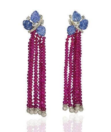 Pair of sapphire, ruby and diamond pendent earrings, Michele della Valle
