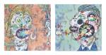 村上隆 MURAKAMI TAKASHI | 向培根致敬:伊莎貝爾‧羅斯與喬治‧戴爾頭像習作(兩件一組) HOMAGE TO FRANCIS BACON (STUDY FOR HEAD OF ISABEL RAWSTHORNE AND GEORGE DYER) (SET OF TWO)