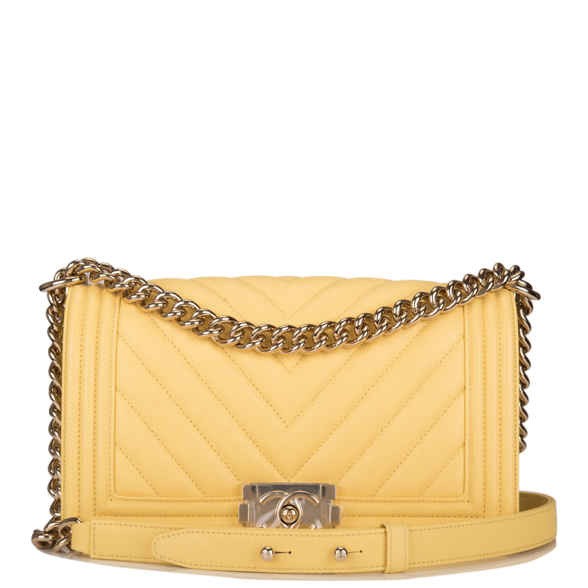 View full screen - View 1 of Lot 98. CHANEL |  YELLOW CHEVRON OLD MEDIUM BOY BAG OF CAVIAR LEATHER WITH LIGHT GOLD TONE HARDWARE.