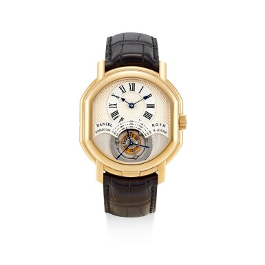 DANIEL ROTH | REGULATEUR TOURBILLON, REFERENCE 197.X.40  A PINK GOLD DOUBLE DIALED TOURBILLON WRISTWATCH WITH DATE AND 8 DAY POWER RESERVE INDICATION, CIRCA 2004
