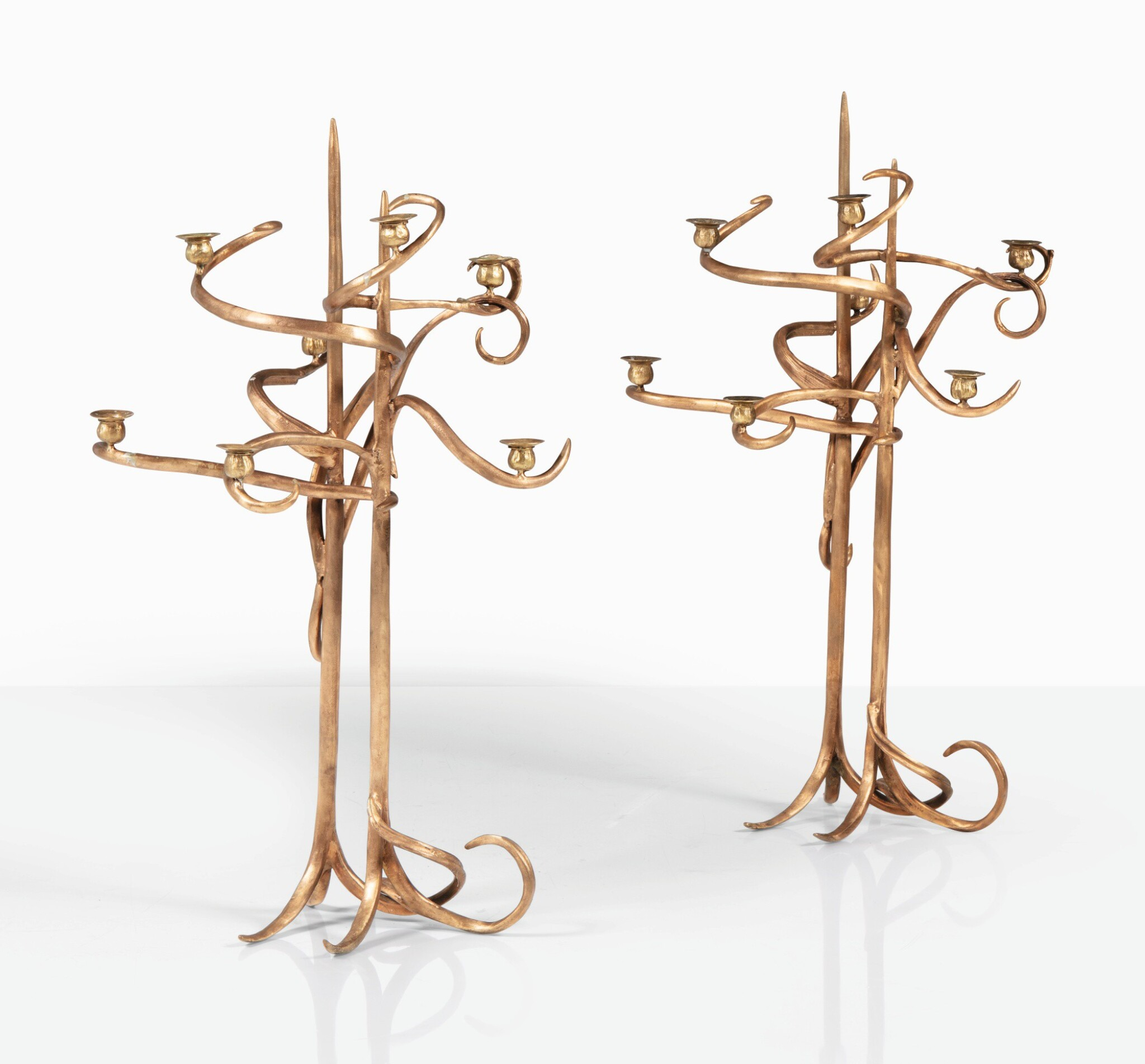 View full screen - View 1 of Lot 117. CLAUDE LALANNE   PAIR OF CANDELABRAS  [PAIRE DE CANDÉLABRES].