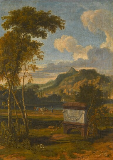 ALBERT MEYERING | An Arcadian landscape with a tomb in the foreground and a traveller with his donkeys walking along a river
