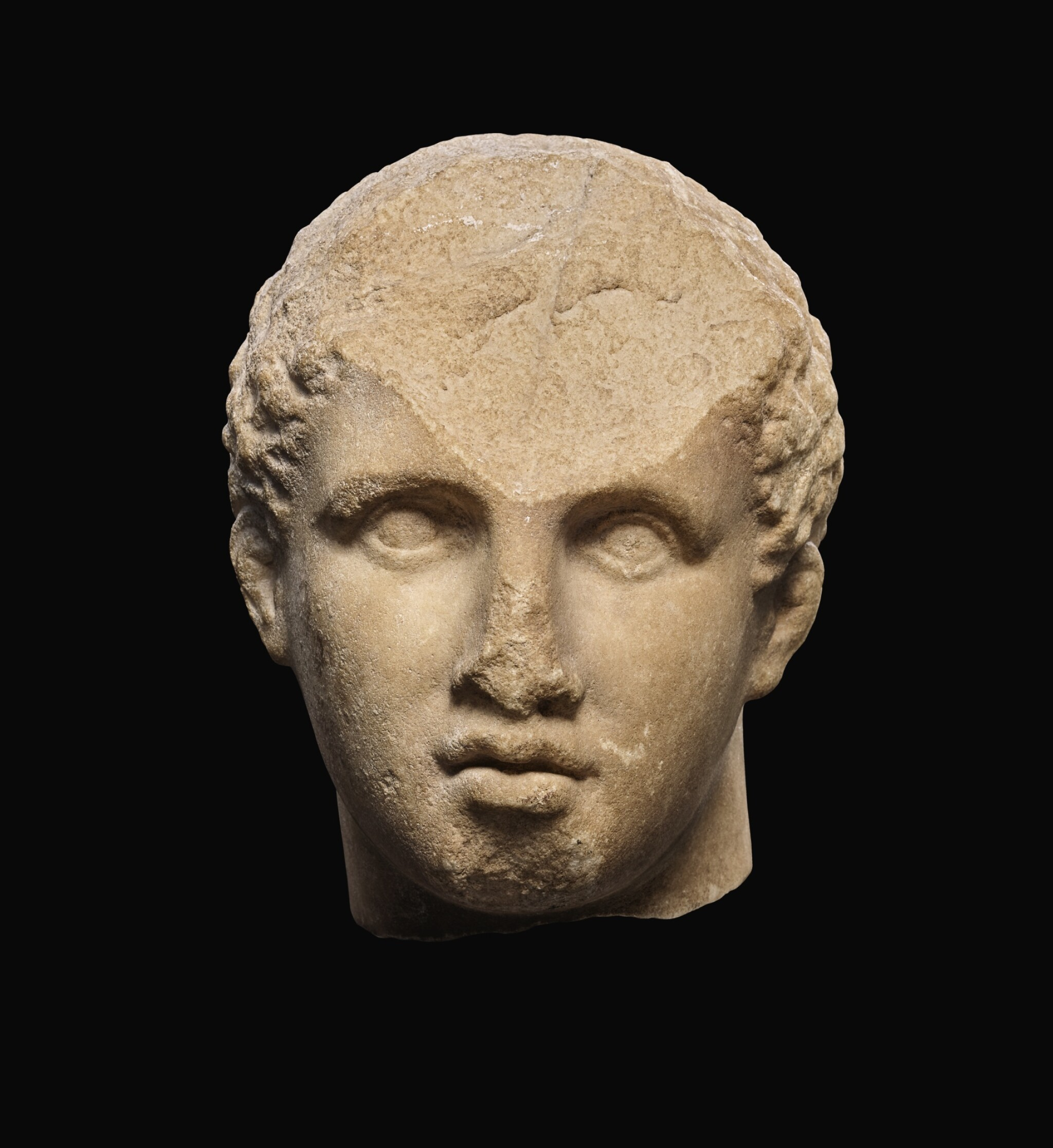 View full screen - View 1 of Lot 22. A GREEK MARBLE HEAD OF A YOUTH, 3RD QUARTER OF 4TH CENTURY B.C..