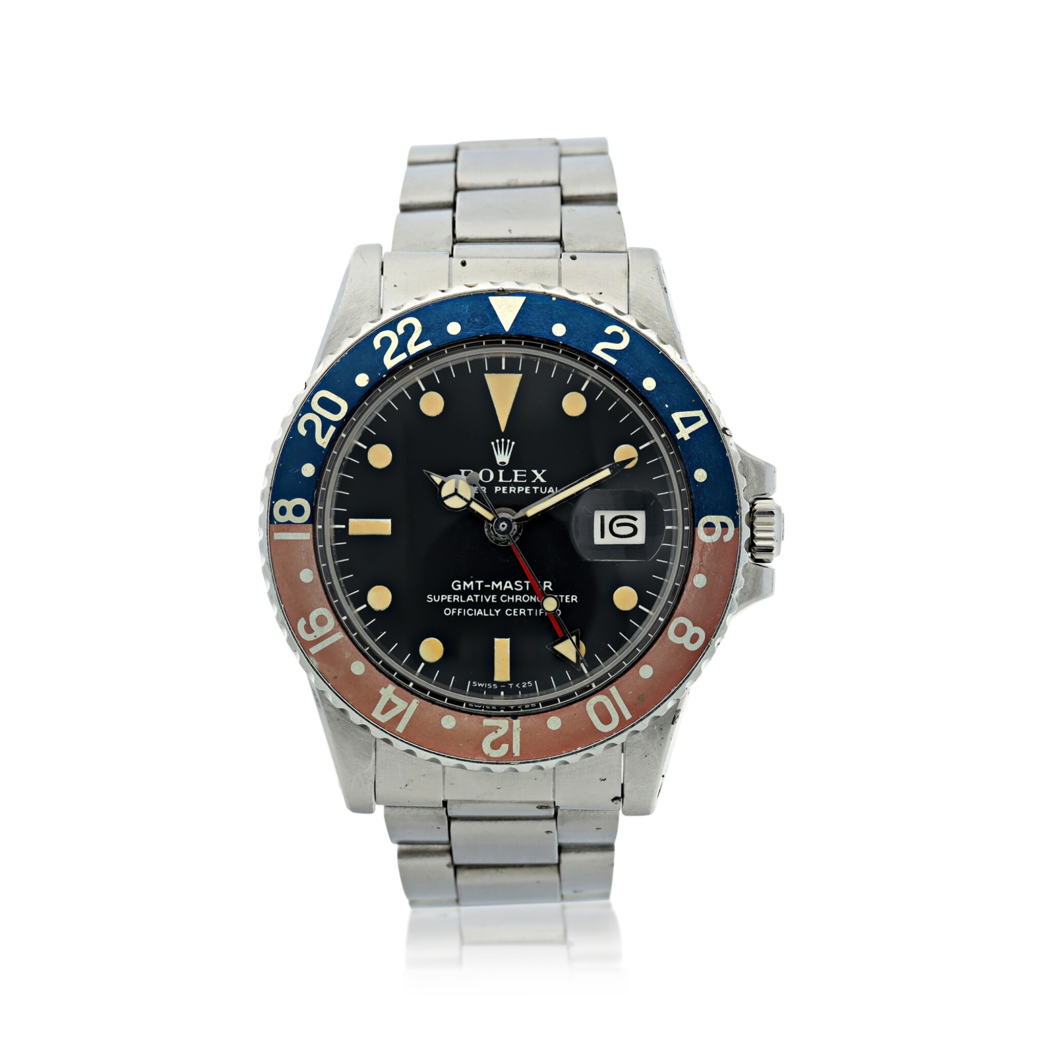 View full screen - View 1 of Lot 7. ROLEX | REFERENCE 1675 GMT-MASTER 'PEPSI'  A STAINLESS STEEL AUTOMATIC DUAL TIME WRISTWATCH WITH DATE AND BRACELET, CIRCA 1970.