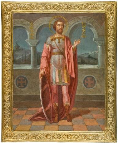 View 1. Thumbnail of Lot 243. Saint John the Warrior in a silver-gilt frame, Pavel Ovchinnikov, Moscow, 1908-1917.