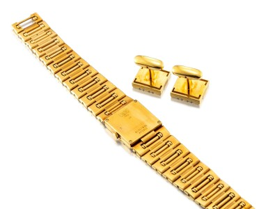 View 3. Thumbnail of Lot 1105. PIAGET   DANCER, REFERENCE 81317 K81 A YELLOW GOLD BRACELET WATCH WITH A PAIR OF ASSOCIATED CUFFLINKS, CIRCA 1990.