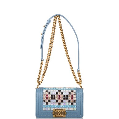View 6. Thumbnail of Lot 29. Chanel Blue Metiérs d'Art Mosaic Embroidered Small Boy Bag of Lambskin Leather with Antiqued Gold Tone Hardware.