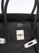 Black matte alligator and palladium hardware handbag, Birkin 35, Hermès, 2013