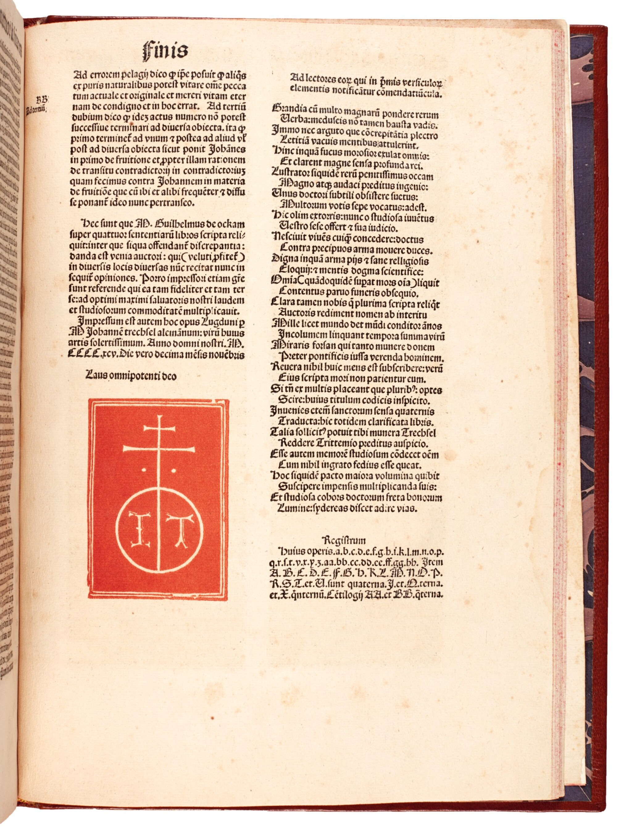 View full screen - View 1 of Lot 231. William of Ockham, Super quattor libros sententiarum, Lyon, 1495, modern calf.