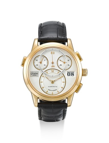GLASHÜTTE | PANOGRAPH, REFERENCE W19501010104, A PINK GOLD CHRONOGRAPH WRISTWATCH WITH DATE, CIRCA 2005