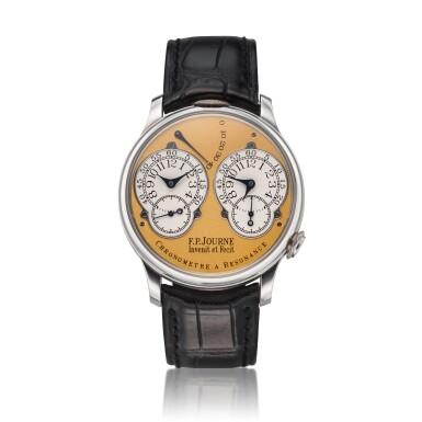 View 1. Thumbnail of Lot 422. Chronomètre à Résonance  A platinum dual time wristwatch with power reserve indication and brass movement, Circa 2002 .