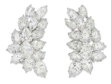 View 1. Thumbnail of Lot 56. HARRY WINSTON | PAIR OF DIAMOND EARCLIPS.