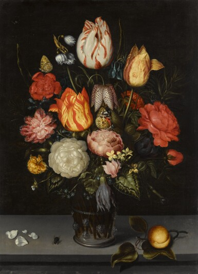View 1. Thumbnail of Floral still life including tulips and roses, in a glass beaker upon a stone ledge.