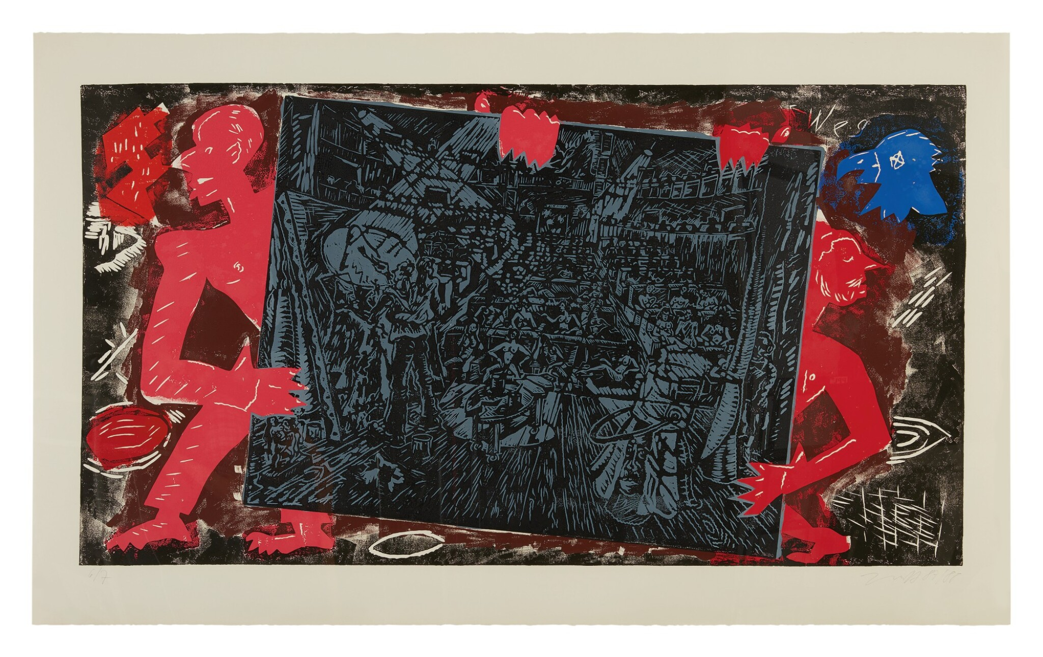 View full screen - View 1 of Lot 32. JÖRG IMMENDORFF   RAUB DER SABINERIN [ROBBERY OF THE SABINES] .