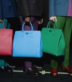 PRADA |  TWO  SAFFIANO LEATHER GALLERIA TOTE BAGS IN BLUE AND IN GREEN UNIQUE COLORS NOT IN THE STORES