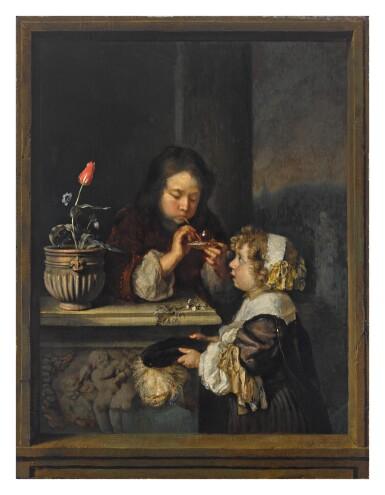 CASPAR NETSCHER     A YOUNG BOY AND GIRL BLOWING BUBBLES