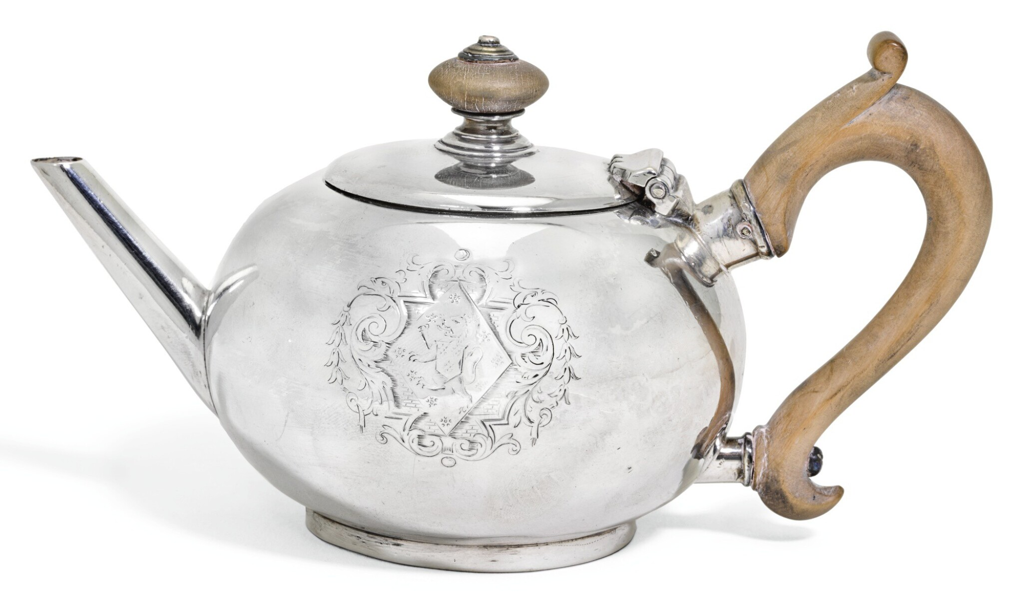 View full screen - View 1 of Lot 114. A SMALL GEORGE II SILVER BULLET TEAPOT, ANNE TANQUERAY, LONDON, 1729.
