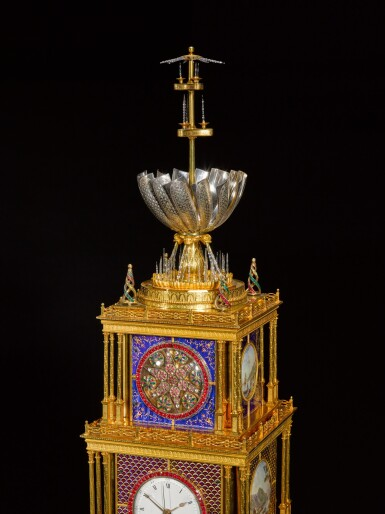 View 9. Thumbnail of Lot 16. John Mottram. A George III gilt-brass and enamel musical automaton clock for the Chinese market, London, circa 1790.